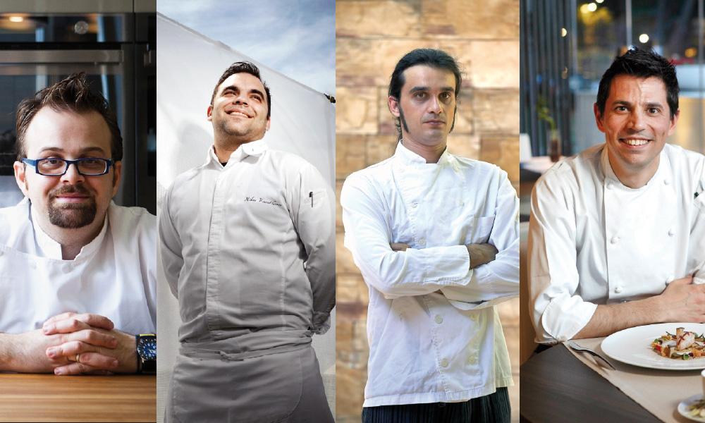 Από αριστερά προς δεξιά: Δημήτρης Παμπόρης, Νίκος Καραθάνος, Αλέξανδρος Χαραλαμπόπουλος, Αλέξανδρος Καρδάσης. Τέσσερις από τους καλύτερους εκφραστές της μοντέρνας ελληνικής κουζίνας τα τελευταία χρόνια.